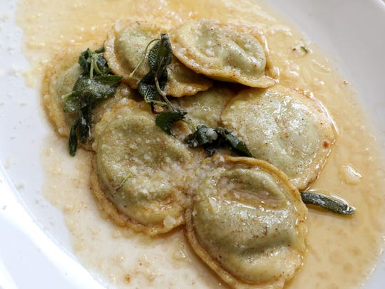The Ravioli with Spinach in a brown butter and sage