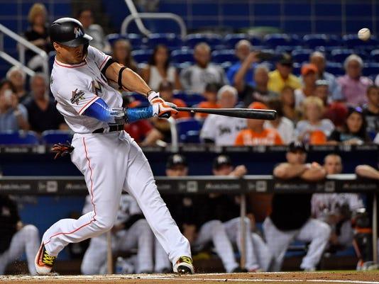 USP MLB: SAN FRANCISCO GIANTS AT MIAMI MARLINS S BBN MIA SF USA FL