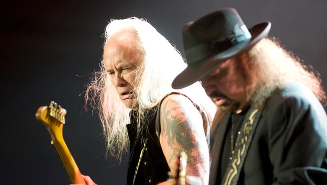 Guitarists Rickey Medlocke, left, and Gary Rossington, of the southern rock band Lynyrd Skynyrd in 2014.