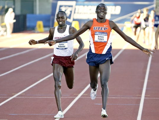 UTEP's Anthony Rotich celebrates victory after winning the men's steeplechase at the NCAA Outdoor Track & Field Championships in Eugene, Ore., last month. The four-time national champion has been named the Conference USA Athlete of the Year.