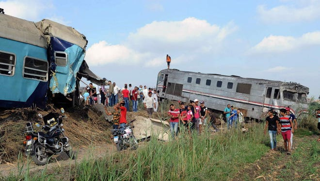 At least 36 people were killed as two trains collided outside of Alexandria, in one of the deadliest in a string of such accidents in Egypt, the health ministry said.