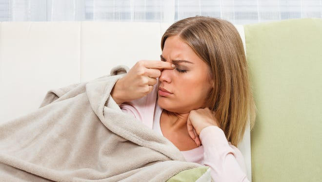 : If you have discomfort and pressure around your eyes and nose cheeks when you bend over, you could have a nasal infection.