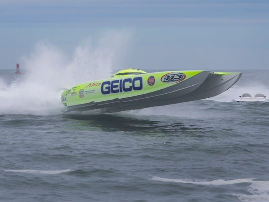 The Miss Geico goes airborne as she makes a turn at the beach during the 2016 Offshore Grand Prix in Point Pleasant Beach on May 22, 2016