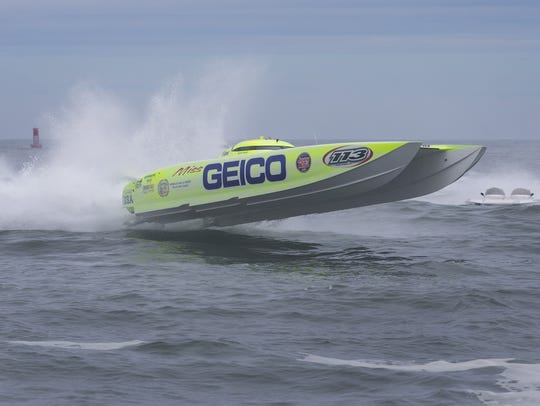 The Miss Geico goes airborne as she makes a turn at