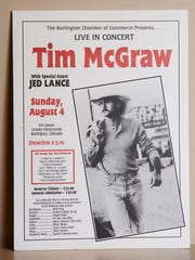 Concert poster for Tim McGraw advertising Jed Stugart, also known as Jed Lance from the late 1990s.