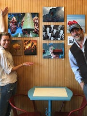 Actors Hilarie Burton, left, and Jeffrey Dean Morgan, right, partners at Samuel's Sweet Shop in Rhinebeck, pose inside the store in a photo dated Dec. 1, 2016.