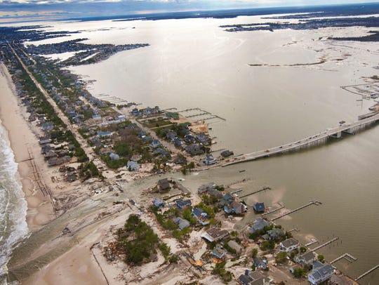 Aerial of the Mantoloking Bridge after Superstorm Sandy