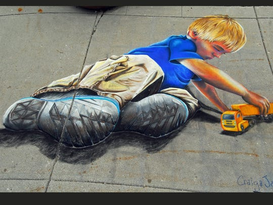 A chalk art drawing which took first during the 2016
