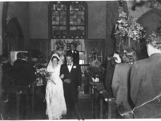 The wedding of Doris and Paul Mears October 24, 1948 in Trinity Episcopal Church.  With the Mears farm dating back to 1791, the Mears family is one of longest established families in town.