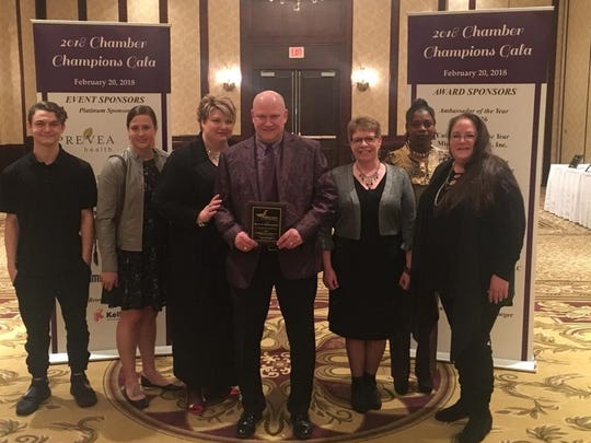 Seeboth Deli's staff at the Chamber Champions Gala. Names of individuals in picture from Left to right are: Lonnie Hatlei, Heather Bassett, Gwen Seeboth, Jim Seeboth, Jodi Barthels, Jasmine Boens, and Andrea Mace. Not pictured are Fran Peter, Stacey Uptegraft and Taylor Post.