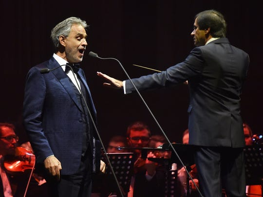 Andrea Bocelli performing at an arena concert in Krakow, Poland.