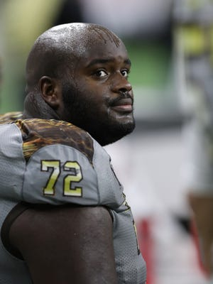 Western Michigan lineman Tylor Moton on the sidelines during the second half of WMU's 29-23 win over Ohio in the MAC title game Friday at Ford Field.
