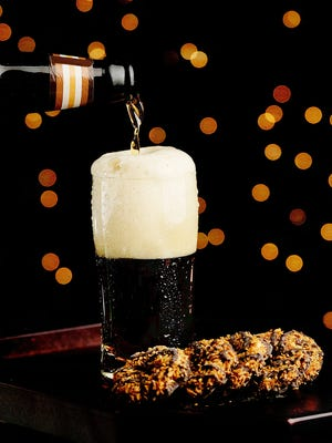 "The Girl Scout ""Samoa"" cookie is paired with a medium dark beer."