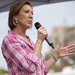 Carly Fiorina campaigns at the Iowa State Fair in Des Moines.