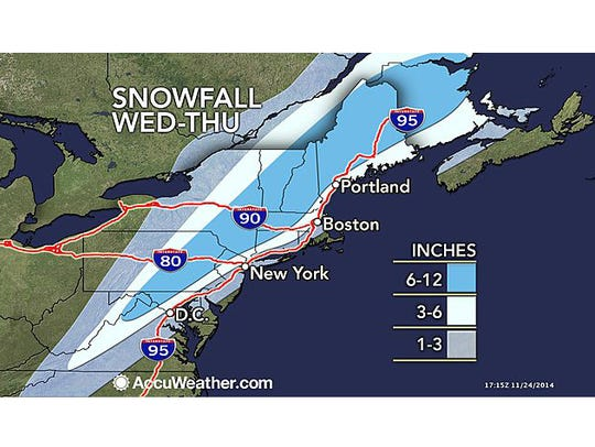 The snowfall forecast from AccuWeather.