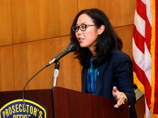 Acting Union County Prosecutor Grace H. Park speaks