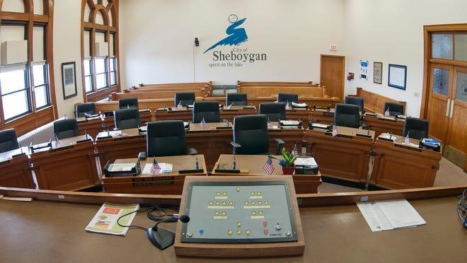 The interior of the Sheboygan council chambers at City Hall.