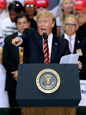 President Trump speaks at a rally at the Phoenix Convention Center on Tuesday, Aug. 22, 2017, in Phoenix.