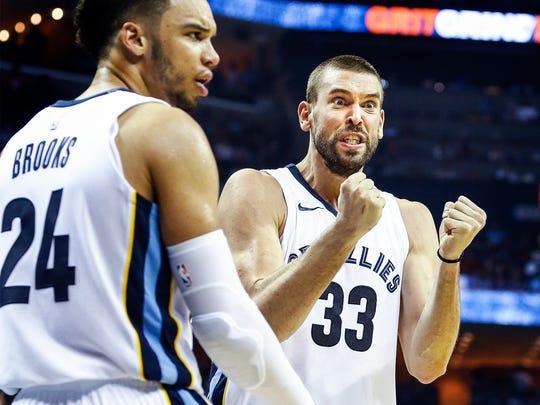 Memphis Grizzlies center Marc Gasol (right) reacts