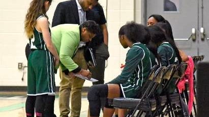 Columbia State coach Gwen Burton draws up a play during a timeout Friday night as the Lady Chargers took on Motlow State in the opening round of the TCCAA/Region VII Tournament at the Webster Athletic Center.