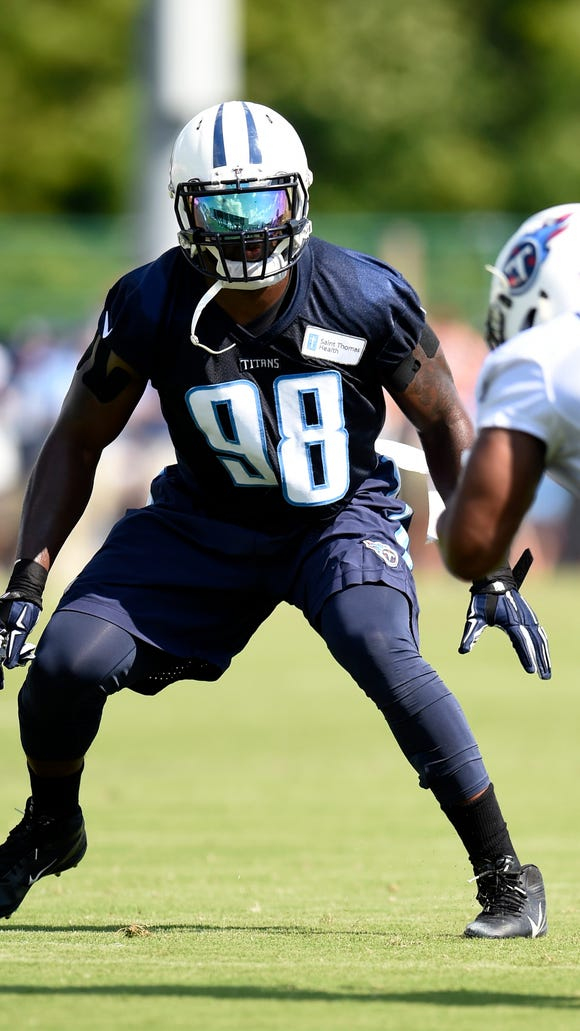 Titans outside linebacker Brian Orakpo (98) looks to make a play during practice at St. Thomas Sports Park Saturday Aug. 1, 2015, in Nashville, Tenn.