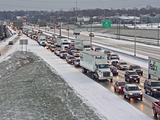 I-71/75 at Burlington Pike just after snow showers