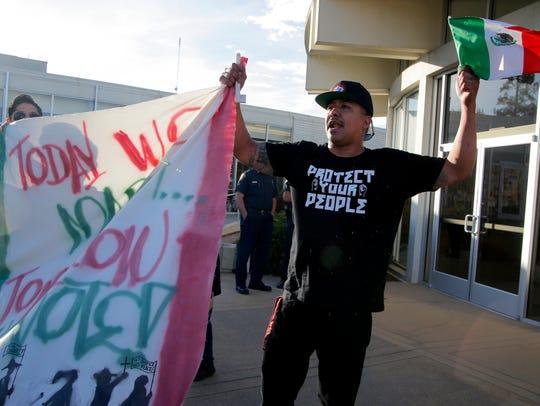 Israel Villa demonstrate for immigrant rights at Salinas