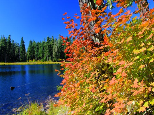 Parish Lake lights up with fall colors in October.