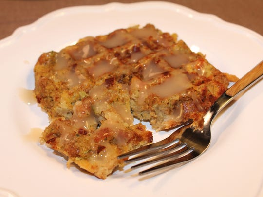 Leftover stuffing and gravy from holiday meals can be turned into savory waffles.