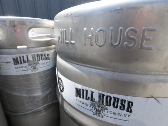 A stack of kegs outside Mill House Brewing's brewery in the City of Poughkeepsie on May 1, 2018.