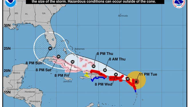 Forecast cone for Hurricane Irma as of 11 p.m. on Tuesday, Sept. 5, 2017.
