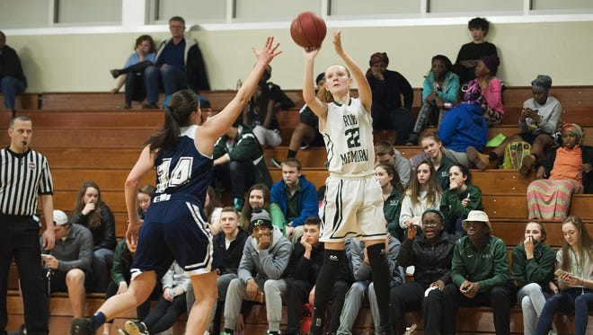 Rice's Lizzy Lyman (22) takes a shot during the girls basketball game between the Burlington Seahorses and the Rice Green Knights at Rice Memorial High School on Thursday night in South Burlington.