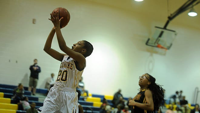 Pocomoke's Tierra Thomas takes a shot at Pocomoke High on Wednesday, March 1, 2017 in the Section II Finals.