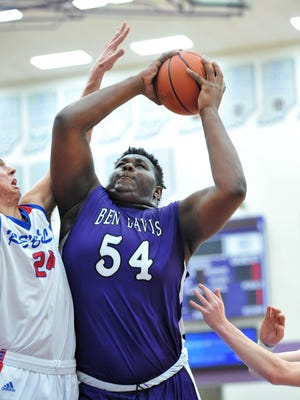 Ben Davis big man Dawand Jones goes up for a shot against Roncalli in sectional play Friday night.