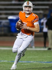 San Angelo Central quarterback Maverick McIvor prepares to fire a pass against Amarillo Tascosa on Nov. 10, 2017, at San Angelo Stadium.