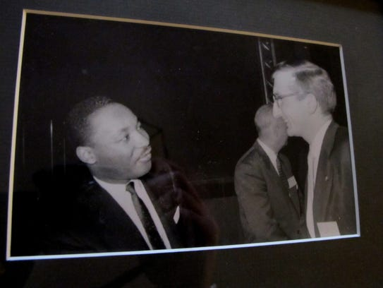 Joe Ellwanger (right) meets Martin Luther King at a seminary in St. Louis in 1956 when King visited to give a speech during the Montgomery, Ala., bus boycott. Ellwanger was pastor of Cross Lutheran Church in Milwaukee from 1967 until 2001.