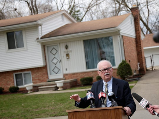 Dearborn Heights Mayor Dan Paletko speaks during a press conference on Wednesday, March 30, 2016, in Dearborn Heights to announce the approval of a FEMA grant that will enable the city to purchase and demolish 15 homes that are affected by frequent flooding.