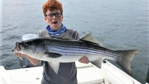 Connor Sears, 14,  of Seekonk with a Block Island striped bass he caught when fishing with his father last week trolling umbrella rigs.