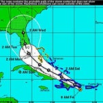An Aug. 28, 2015,  from the U.S. National Hurricane Center shows a 5-day forecast of the possible development and path of Tropical Storm Erika.