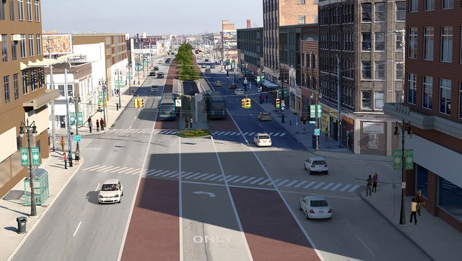 Rendering provided by the Regional Transit Authority of Southeast Michigan shows how bus rapid transit lines might appear in Detroit's Eastern Market area looking north on Gratiot.