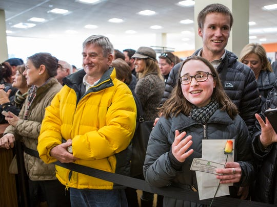 Robert De Niro superfan Haley Simon waits for a chance to see the actor at the grand opening of the Fine Wine & Good Spirits liquor store in Glen Mills, Pa. on Friday afternoon.