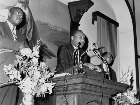 The Rev. Martin Luther King Jr. speaking at Bethel