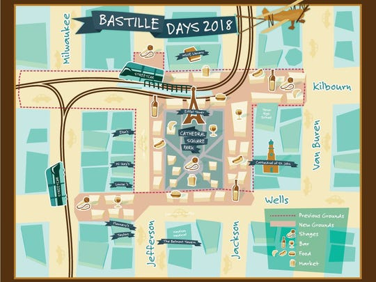 The Bastille Days festival has shifted its footprint in 2018 due to streetcar route construction.