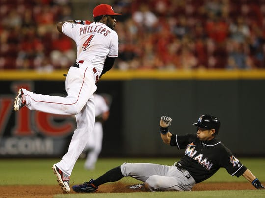 Veterans Brandon Phillips (pictured) and Zack Cozart will both be free agents after 2017, leaving some question marks about the middle of the infield.