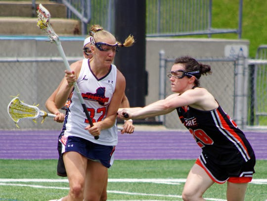 Philadelphia defender Courtney Waite (right) of Bernardsville closes in (Photo: Courtesy of Don Felice/WPLL)