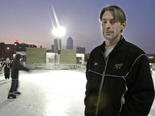 Frank Meeink is shown at the Brenton Skating Plaza in 2007. Meeink, a former skinhead, became a human rights advocate and helped start the Harmony Through Hockey program. The program brought together disadvantaged children and taught them life lessons as they learned to play hockey.