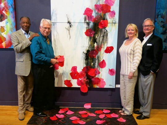 Artist Henry Price, featured artist M. Douglas Walton, of Ruston, and Becky and Roger DeKay at artspace opening.