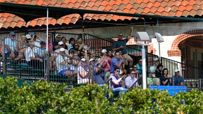 Fans cheer while sitting in a grandstand outside the course overlooking the 15th fairway in order to watch the first round of the Charles Schwab Challenge golf tournament at the Colonial Country Club in Fort Worth, Texas, Thursday, June 11, 2020.