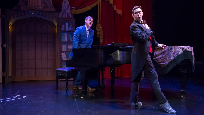 """Eric Van Tielen (at the piano) and Eric Shorey star in the Playhouse in the Park's production of """"Murder For Two,"""" which runs in the Shelterhouse through June 10. It's a zany, convoluted two-person whodunit in which Van Tielen plays a hapless cop and Shorey plays 10 other characters - all of them murder suspects."""