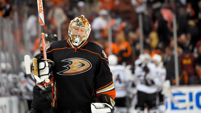 Ducks goalie Frederik Andersen reacts to the winning goal by the Blackhawks' Marcus Kruger during the third overtime.